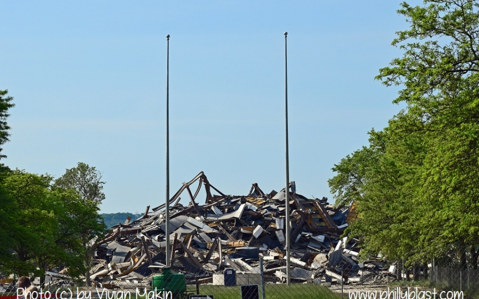 Street view of the debris pile soon after the Martin Tower implosion