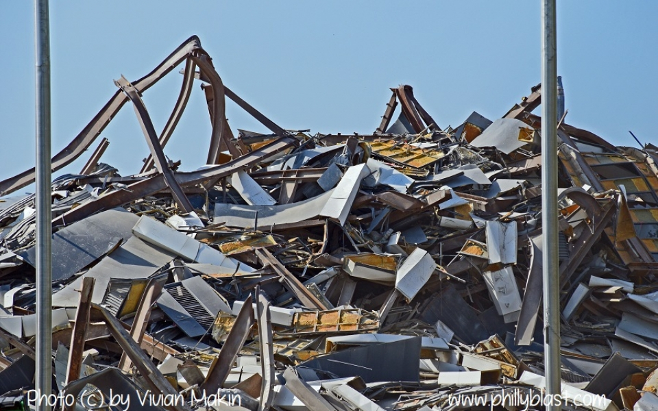 Close-up of the debris pile soon after the Martin Tower implosion