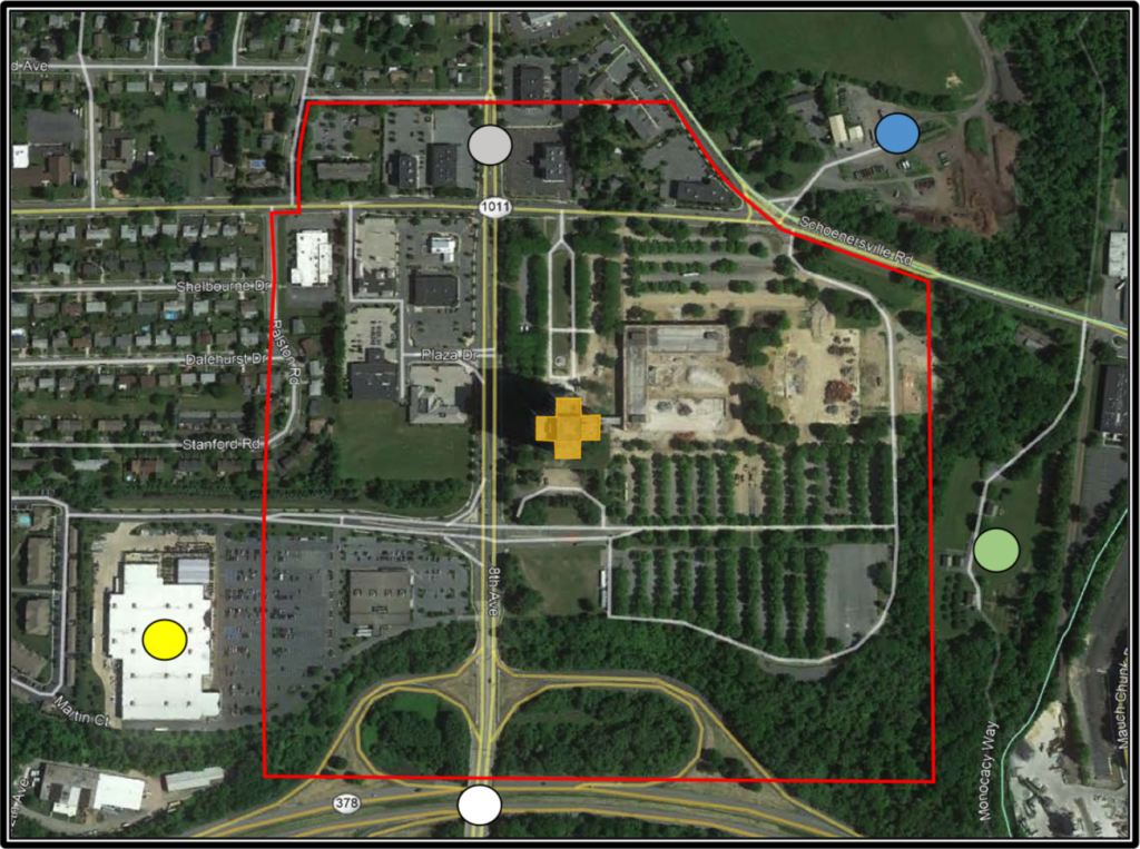 Map showing the exclusion zone for Martin Tower's implosion