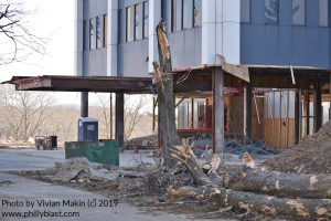 Closeup of Martin Tower lobby under demolition
